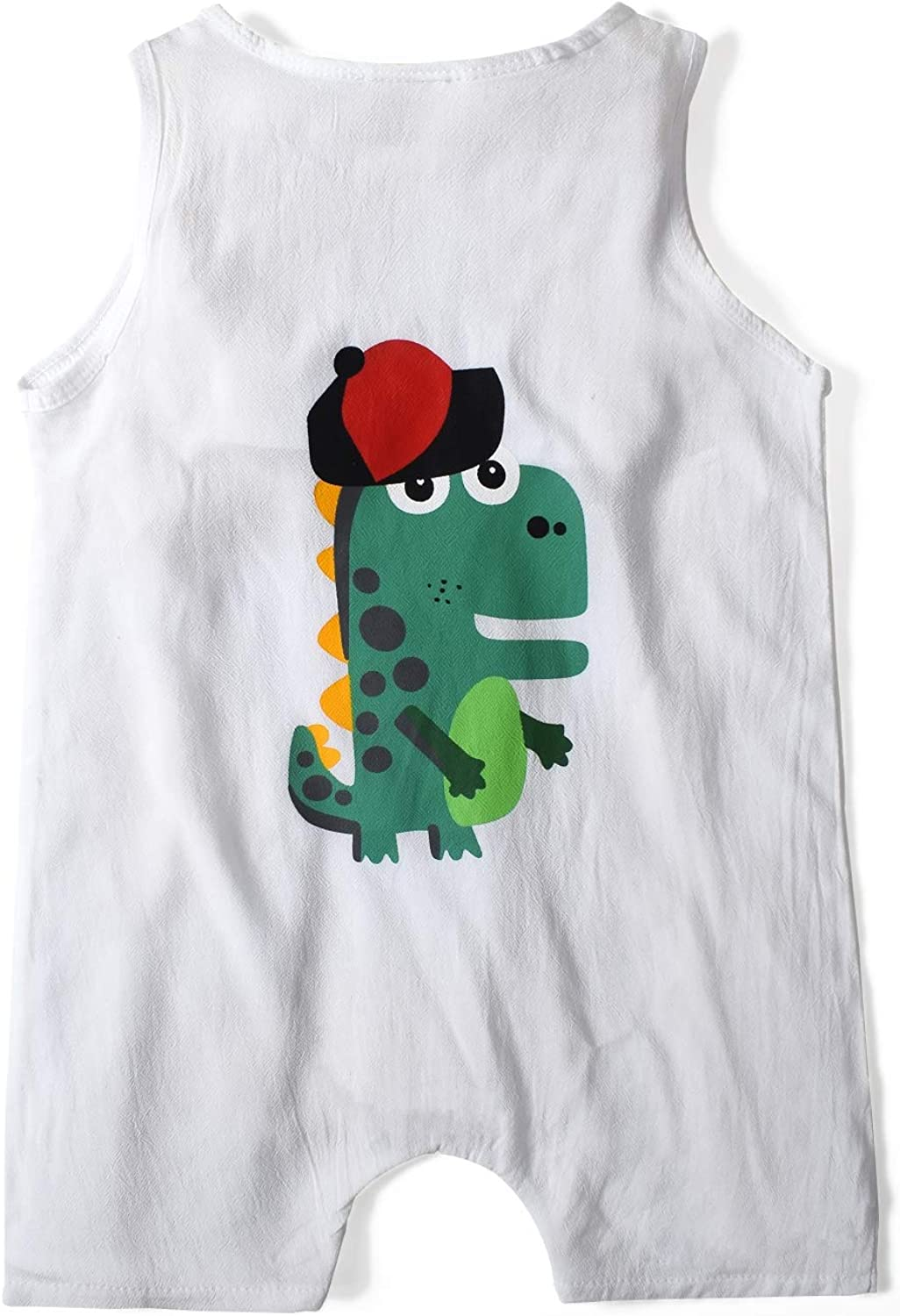 Nwada Baby Boy Clothes 3-24 Months Summer Outfits Cool Sleeveless Short Rompers Kids Dinosaur Printed One-Piece Garment