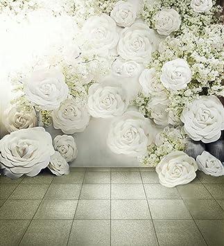 Amazon.com: Foto Flores blancas árboles Piso de mármol 10 x ...