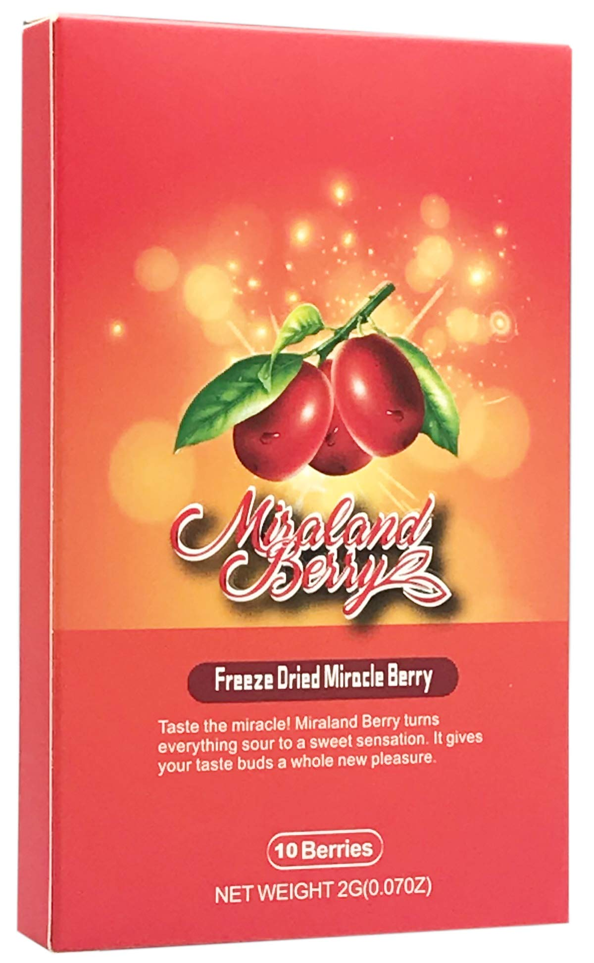 MiralandBerry Freeze Dried Miracle Berry, Miracle Fruit, 10 Whole Premium Berries, Cut Sugar Intake,Turns Sour Foods to Sweet, Great for Taste Tripping Party by MIRALAND BERRY