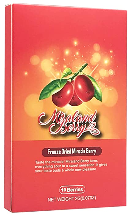 MiralandBerry Freeze Dried Miracle Berry, 10 Whole Berries, Cut Sugar Intake,Turns Sour Foods to Sweet, Great for Taste Tripping Party (1 PACK)