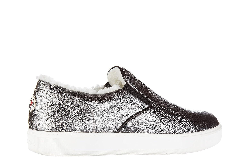 Moncler Slip on Donna in Pelle Sneakers Nuove Originali Roseline Argento   Amazon.it  Scarpe e borse 9b6bc1941e4