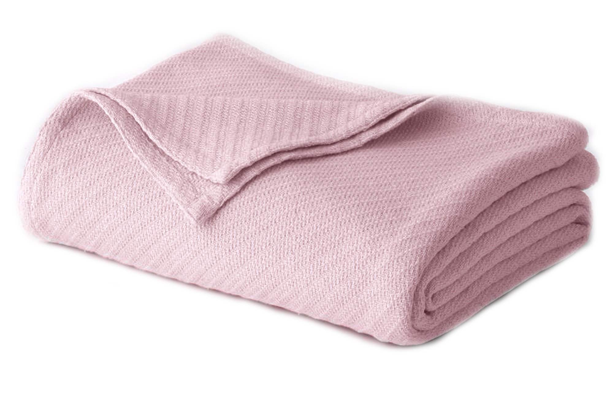 Cotton Craft - 100% Soft Premium Cotton Thermal Blanket - Twin Light Pink - Snuggle in these Super Soft Cozy Cotton Blankets - Perfect for Layering any Bed - Provides Comfort and Warmth for years