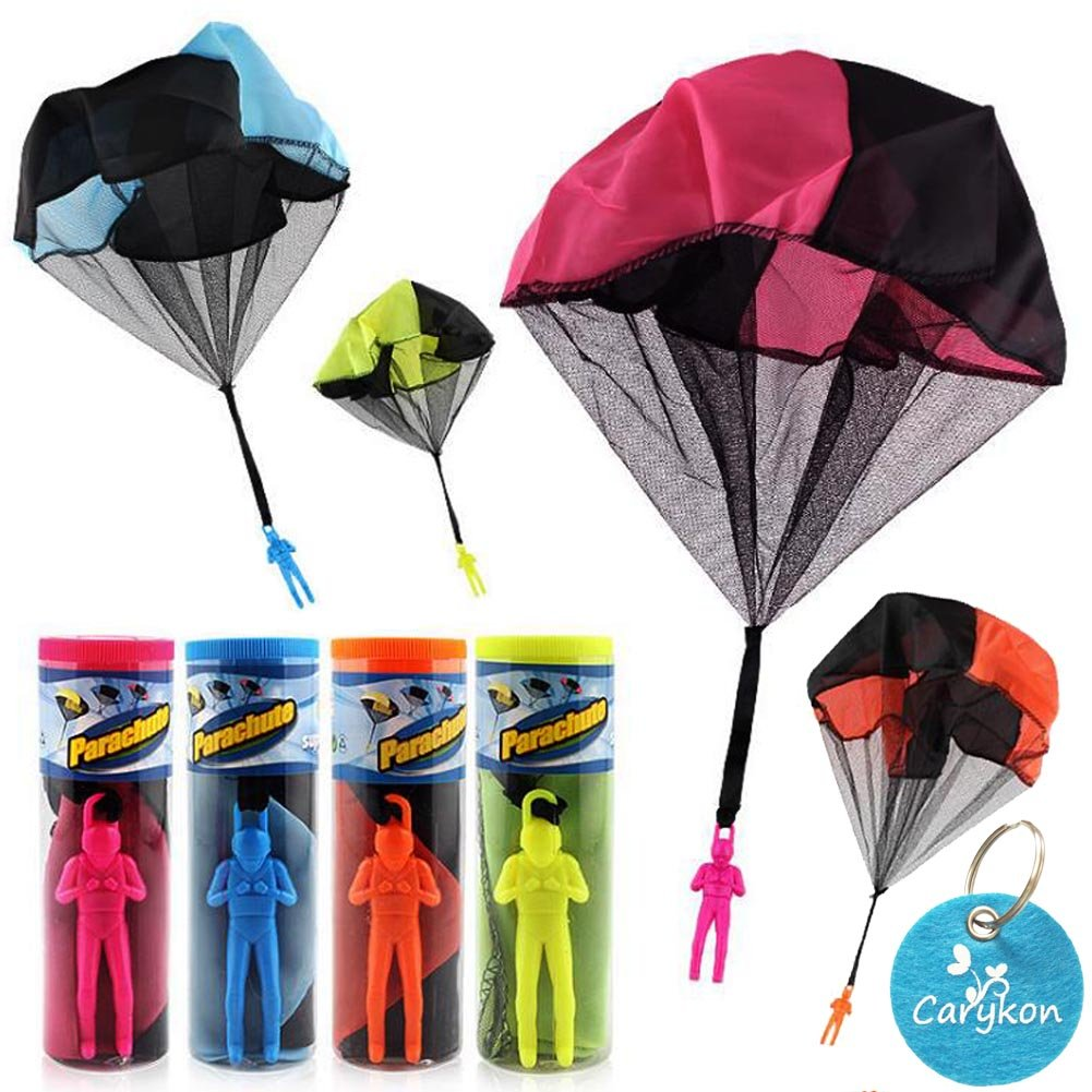 Carykon 4 PCS Kids Hand Throw Parachute Toy - Tangle Free (Colors May Vary)