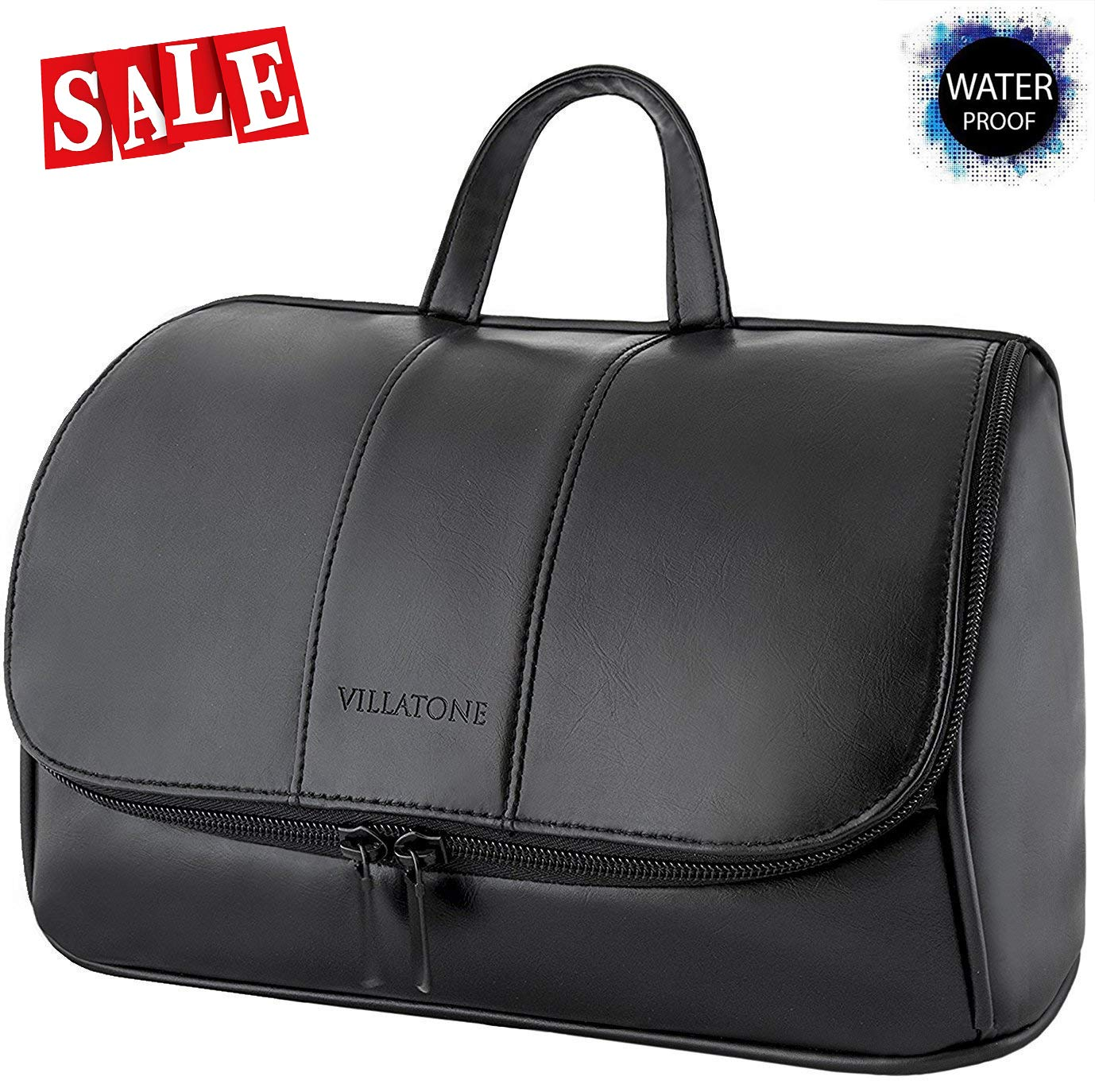 VILLATONE Leather Toiletry Bag for Men - Black Large Hanging Travel Organizer, Shave Dopp Kit & Portable Bathroom Cosmetic Case for Man (with Premium Gift Box)
