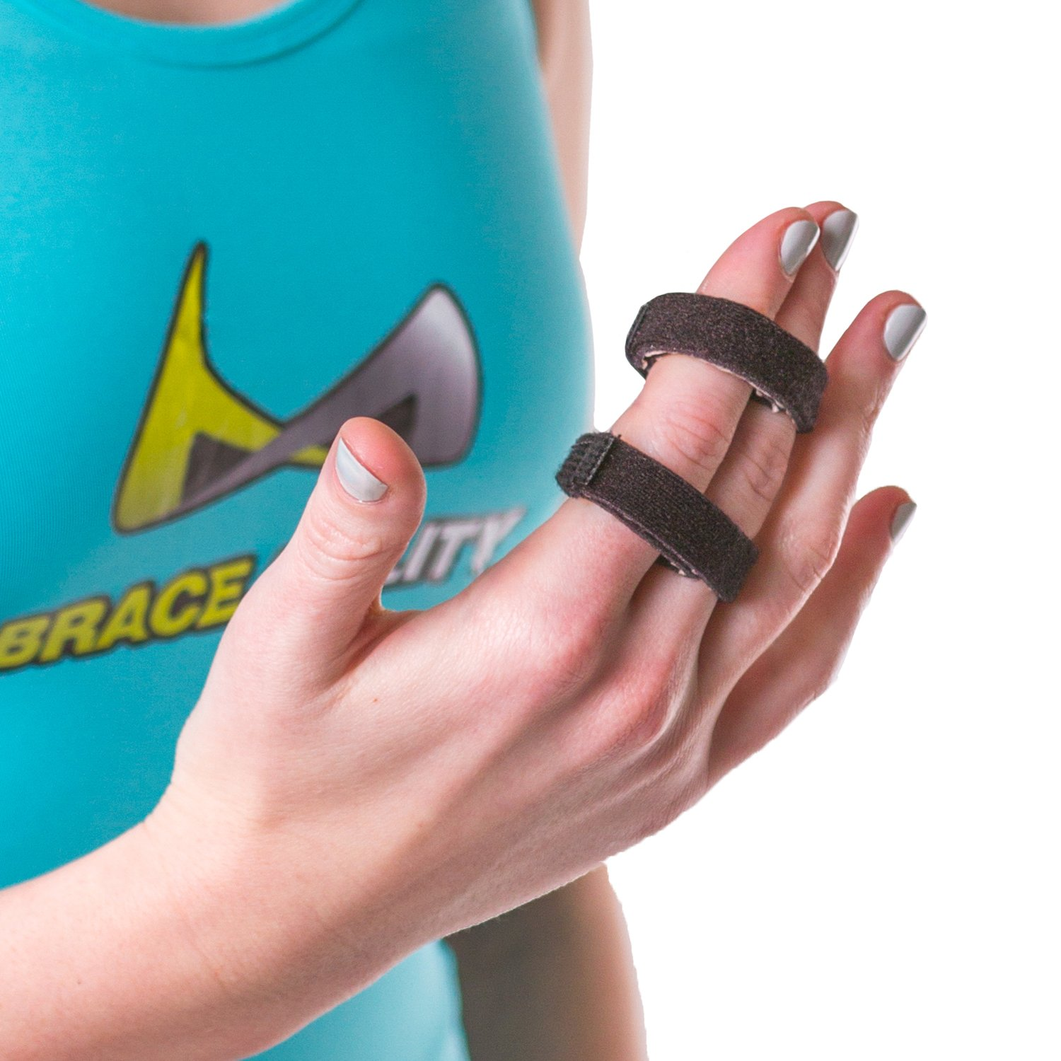 BraceAbility Buddy Tape Finger Splint Wraps   Non-Slip Loop Straps for Treating / Taping a Jammed Finger, Sprained Knuckle, Swollen or Dislocated Joint, Fractured Pinky (Pack of 3)