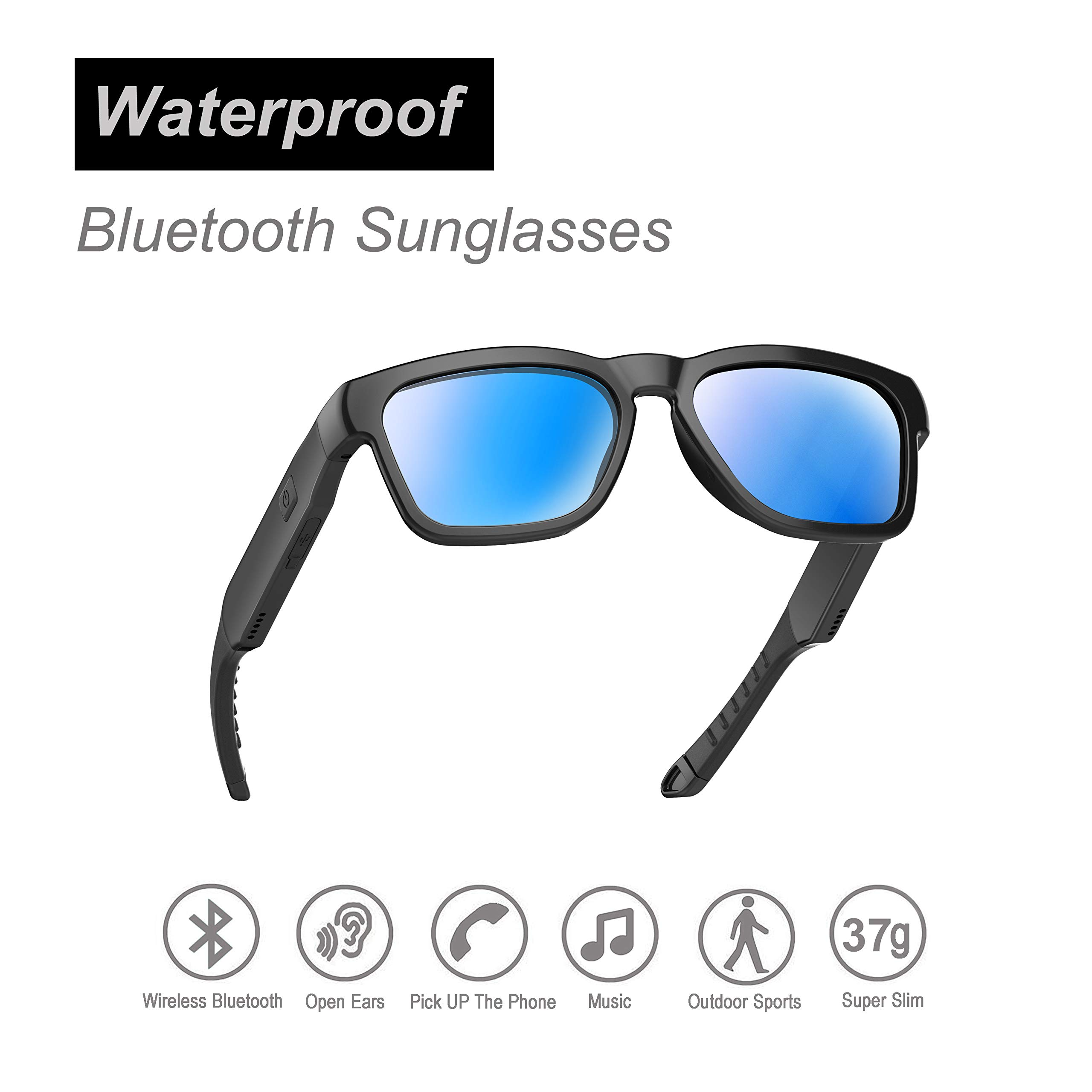 OhO sunshine Water Resistant Audio Sunglasses, Fashionable Bluetooth Sunglasses to Listen Music and Make Phone Calls,UV400 Polarized Lens and Compatible with Prescription Lens
