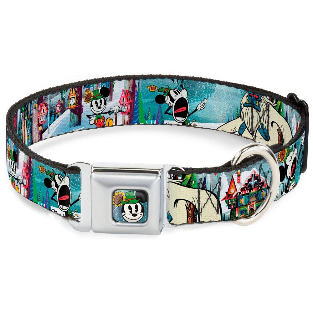 Buckle-Down Seatbelt Buckle Dog Collar Mickey & Minnie Yodelberg Scenes 1  Wide Fits 11-17  Neck Medium