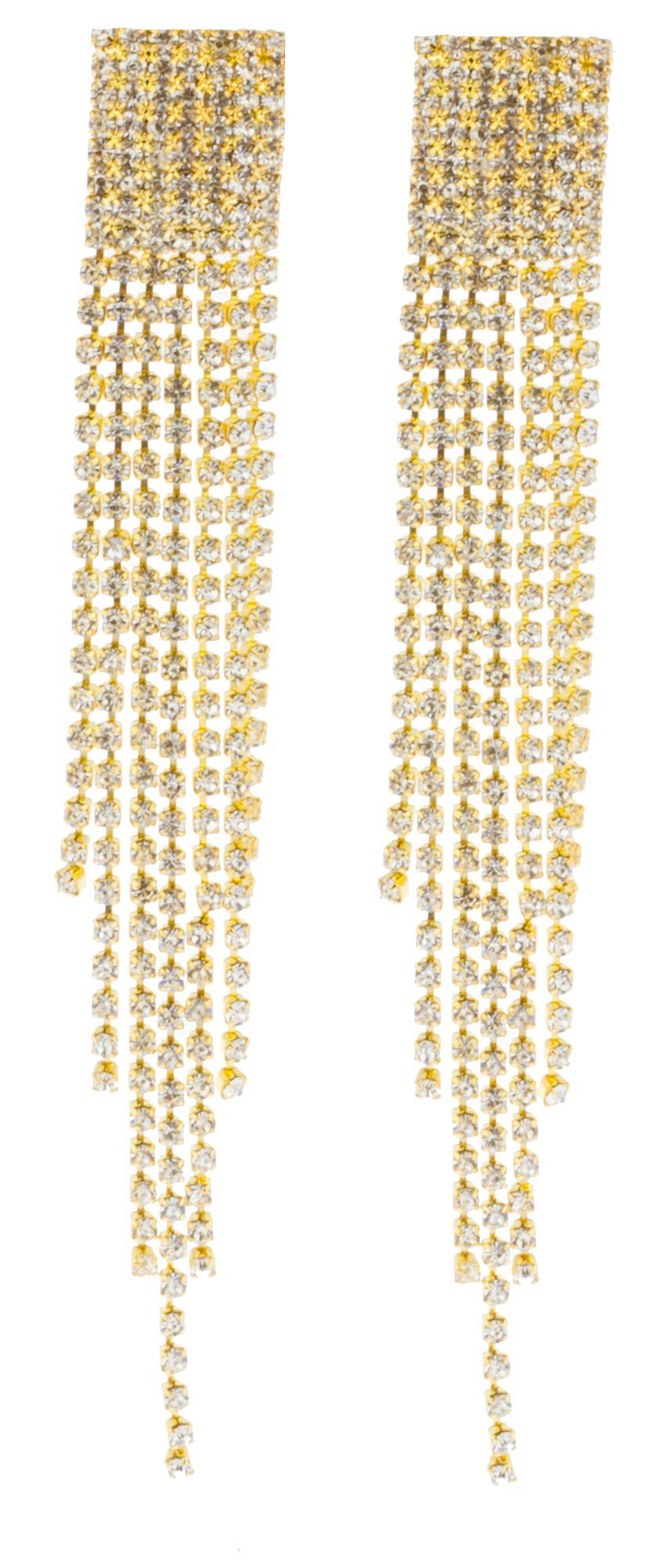 Goldtone 4.5 Inch Chandelier with Tassels and Stones Clip On Earrings (E-1063)