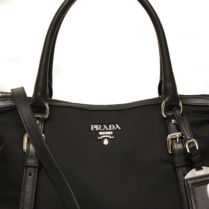 Amazon.com  Prada BR5116 Nero Sacca 2 Manici Tessuto + Soft Calf Leather  Black Nylon and Leather Tote Bag  Shoes fc79270609139