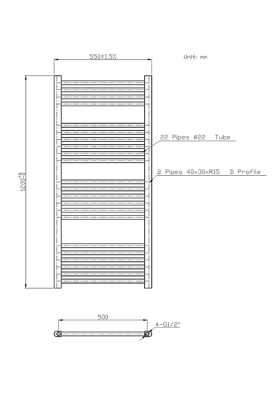 Radiador termodecoraci/ón toallero cromado 120 x 55 distancia entre ejes 50