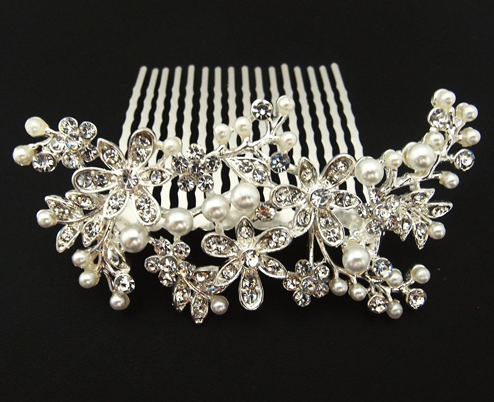 beautiful white Silver Color bridal wedding hair comb pearl and crystal #5