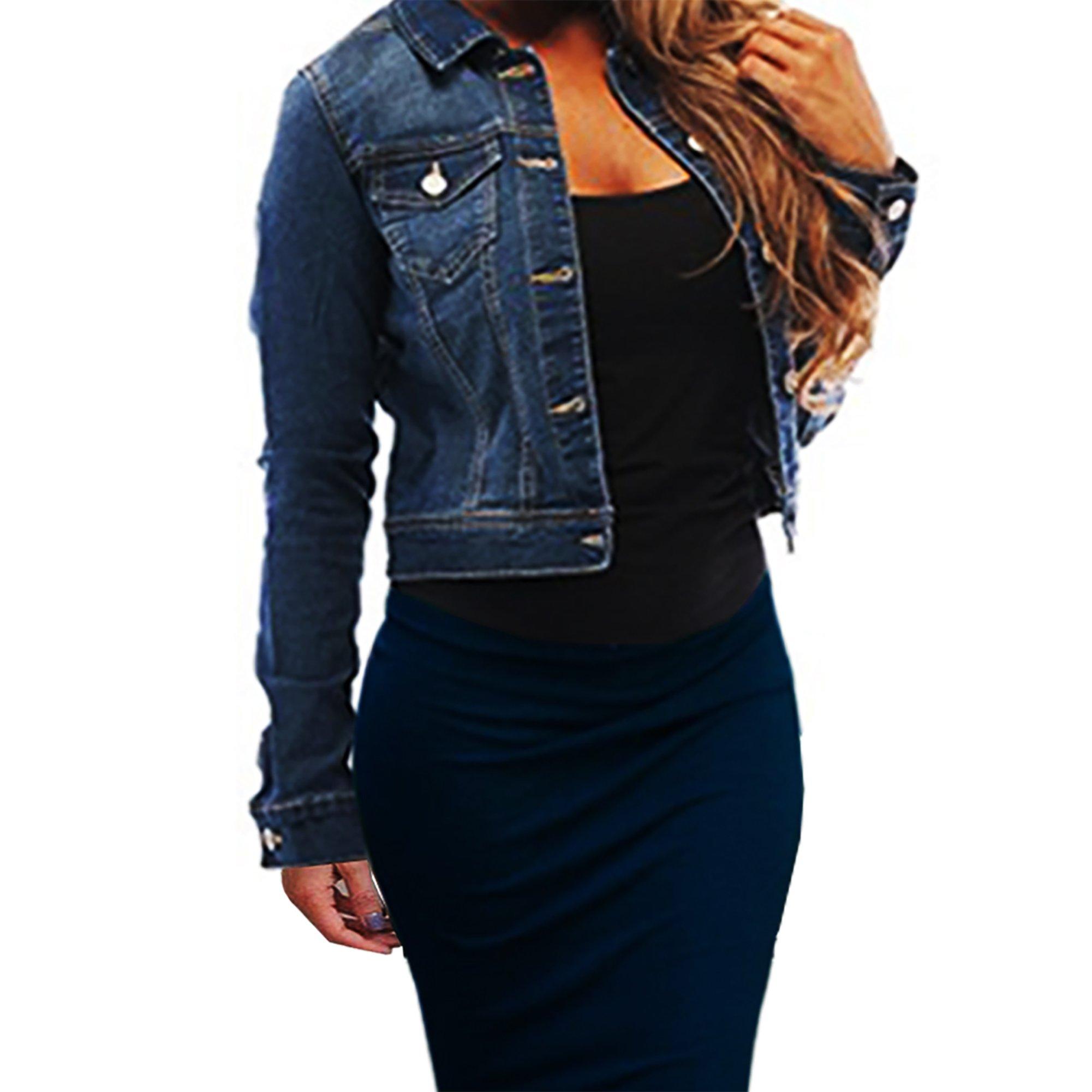 SKYLINEWEARS Womens Full Sleeve Coat Casual Jean Soft Denim Jacket Small