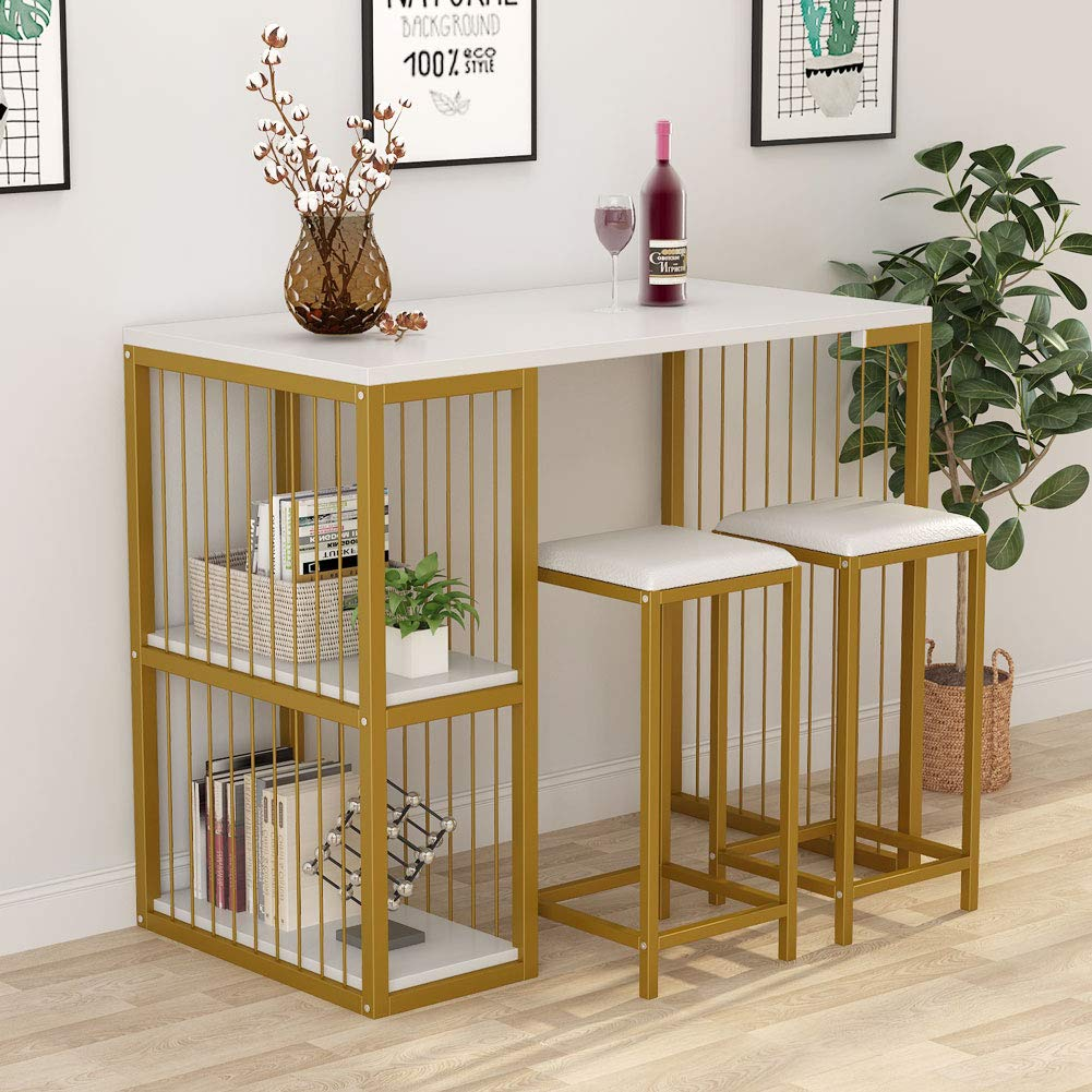 Tribesigns 3-Piece Pub Dining Set Bar Table Set with 2 Storage Shelves, 3 Pc Kitchen Counter Height Dining Breakfast Table Set with 2 Upholstered Stools, White & Gold