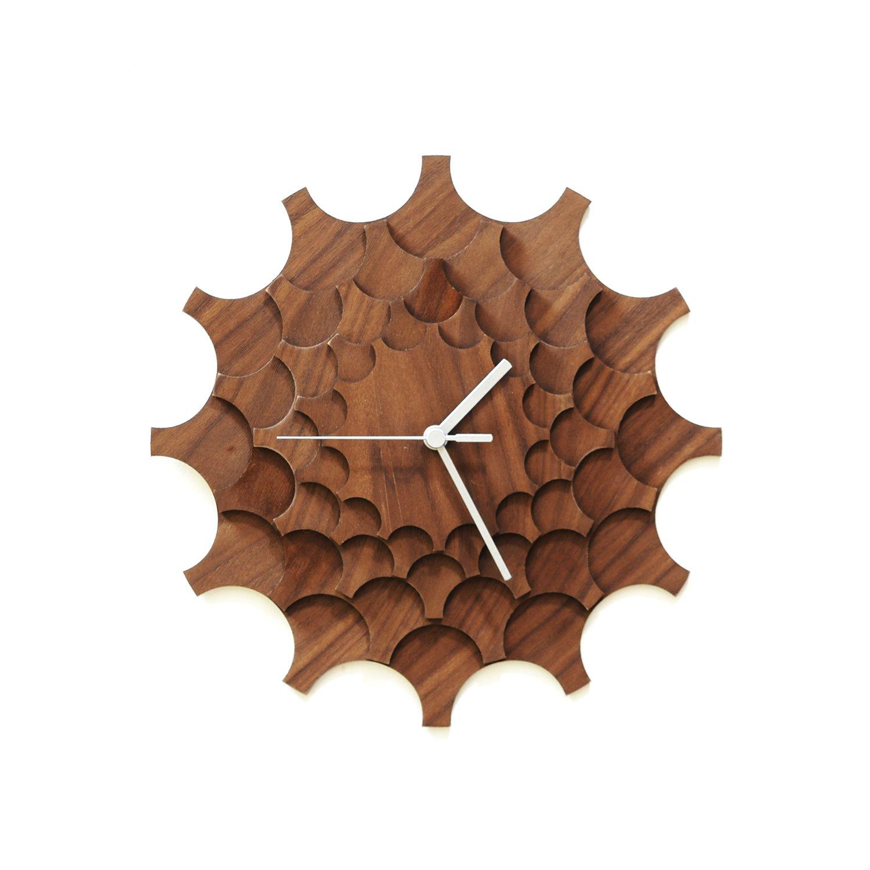 木製の壁時計 Cogwheel (歯車) クルミ モダン時計、レーザーカット手作りの壁画 B01LXURINB