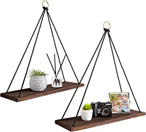 Dahey Boho Wall Hanging Shelf, Set of 2 Wood Floating Shelves Rope Rustic Hanging Plant Shelf Farmhouse Decor for Bedroom Living Room Bathroom