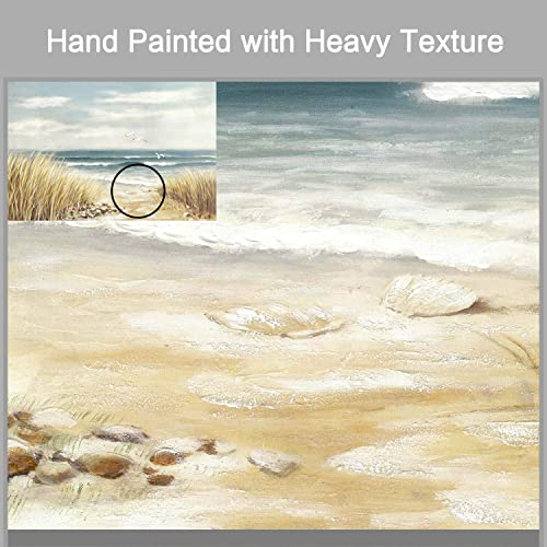Abstract Beach Painting Wall Art: Seashore Artwork Hand Painted Coastal Picture on Canva
