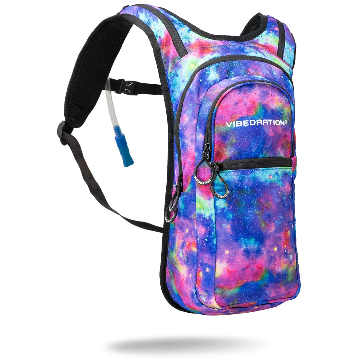 Vibedration VIP 2 Liter Festival Hydration Pack | Festival Rave Hydration, Hiking Camping Backpack (Metallic Space)
