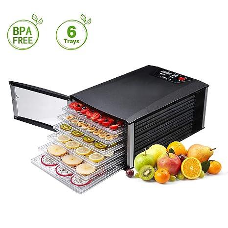 Sancusto® - Deshidratador de Alimentos, 630W, Deshidratador con 6 Bandejas Extraíbles, Secador