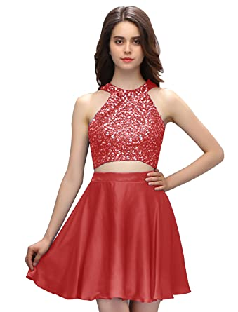 Dressystar Two Piece Short Prom Dress High Neck Beaded Homecoming Dress Size 12 Dark Red