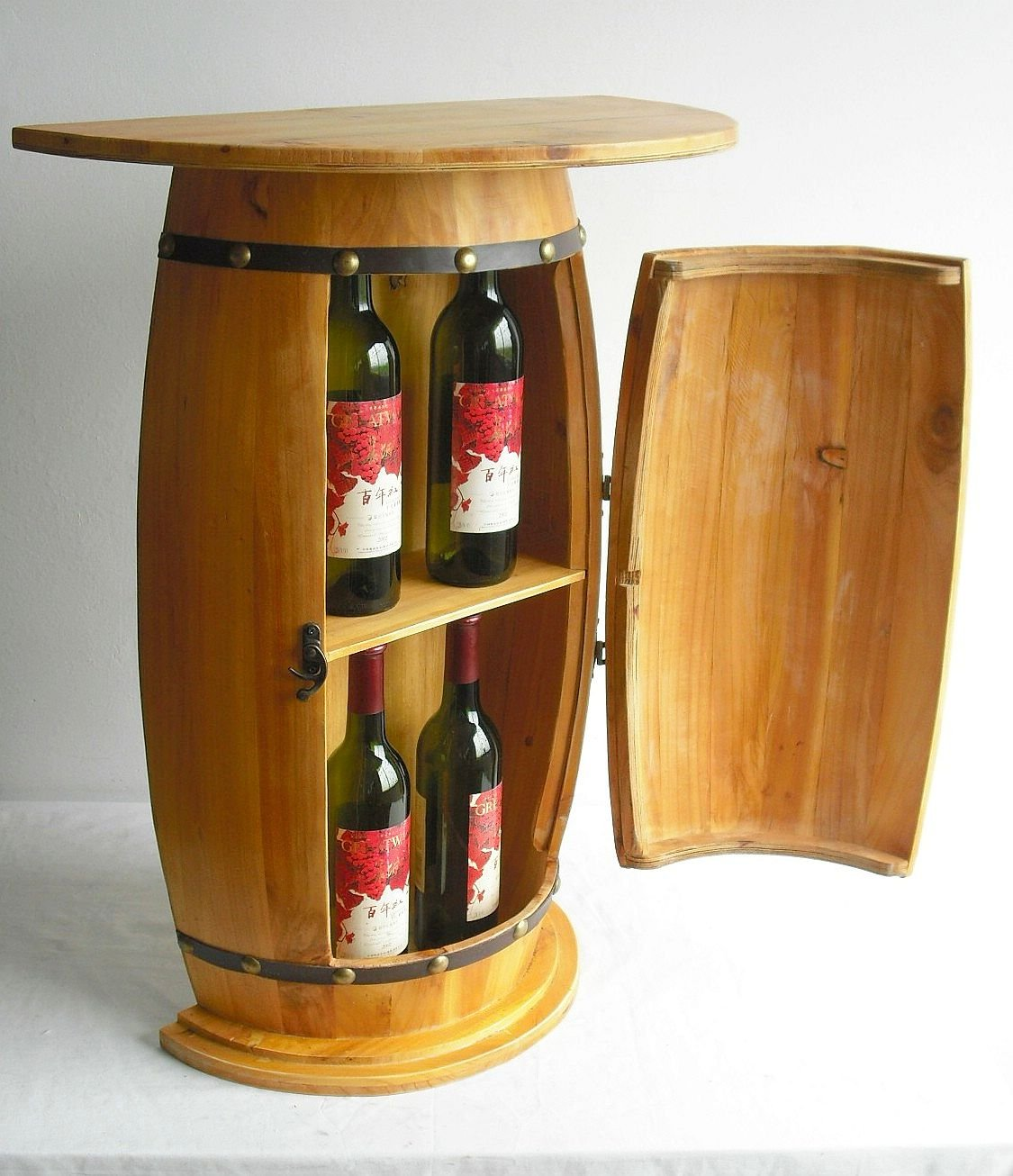 Dandibo Table Murale Table Tonneau Vin 0373 Armoire Casier Vin  # Meuble Tv Avec Barrique Bois