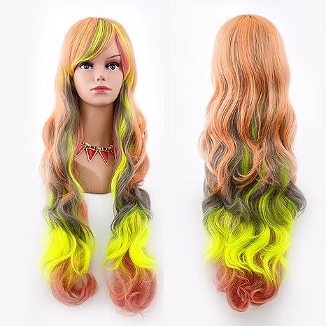 Peluca de pelo sintético para mujer, ondulada, con brazaletes, multicolor, cosplay,