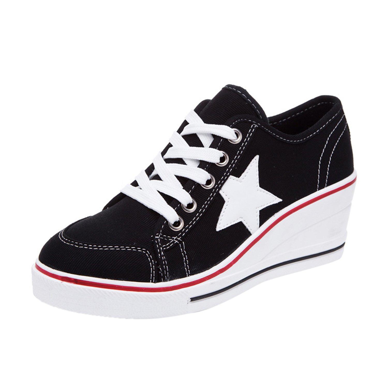 Rsuma Women's Round Toe Wedge Heels Star Canvas Shoes, Black EURO43/US12/UK10