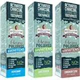 My Magic Mud Activated Charcoal Toothpaste, All Natural Whitening Toothpaste, Detoxifying Oral Care, 4 oz. Variety Pack of 3 (Wintergreen, Peppermint, Cinnamon Clove)