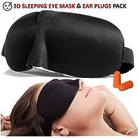 3D Sleep Eye Mask & Ear Plug Pack Padded Comfortable Sleeping Mask Noise Cancellation Silicon Ear Plugs