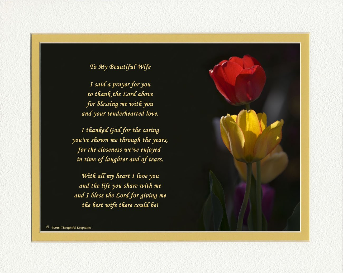 Wife Gift with ''Thank You Prayer for Best Wife'' Poem. Tulips Photo, 8x10 Double Matted. Special Wife Gift for Anniversary, Birthday, Christmas. Valentine's Day Gifts.