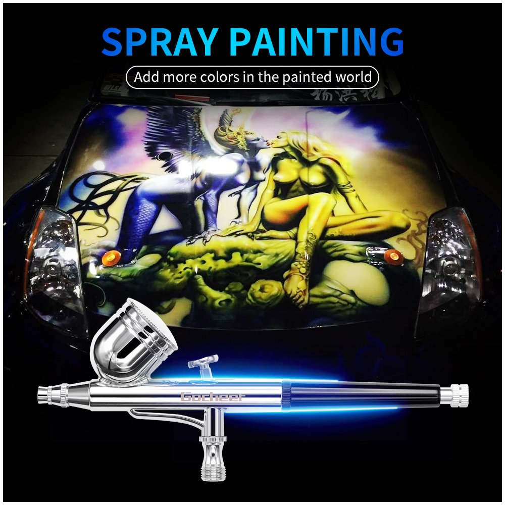 Gocheer Airbrush Set Dual-Action Gravity Feed High Airbrush Gun With 0.2 0.3 0.5mm Nozzles and Art Painting Tattoo Body Art Cake Manicure Spray Model Nail Make up + 1/8\