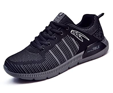 6a09b8fc4bfd HOOH Sports Shoes Lightweight Shock Absorption Leisure Low Top Men s  Running Sneakers Black 6.5 D(