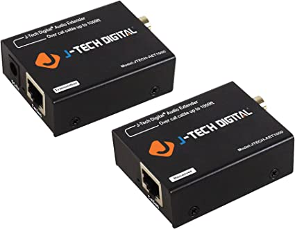 for Dolby Digital DTS 5.1 PoC DTS-HD up to 990/' PCM JTECH-AET1000 J-Tech Digital Optical//Coaxial Digital Audio Extender//Converter Over Single Cat5e//6 Cable 300m