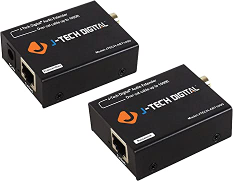 Amazon.com: J-Tech Digital Optical/Coaxial Digital Audio Extender/Converter Over Single Cat5e/6 Cable (PoC) up to 990' (300m) for Dolby Digital, DTS 5.1, DTS-HD, PCM [JTECH-AET1000]: Computers & Accessories