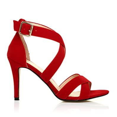 SOPHIE Red Suede Strappy High Heel Sandals: Amazon.co.uk: Shoes & Bags
