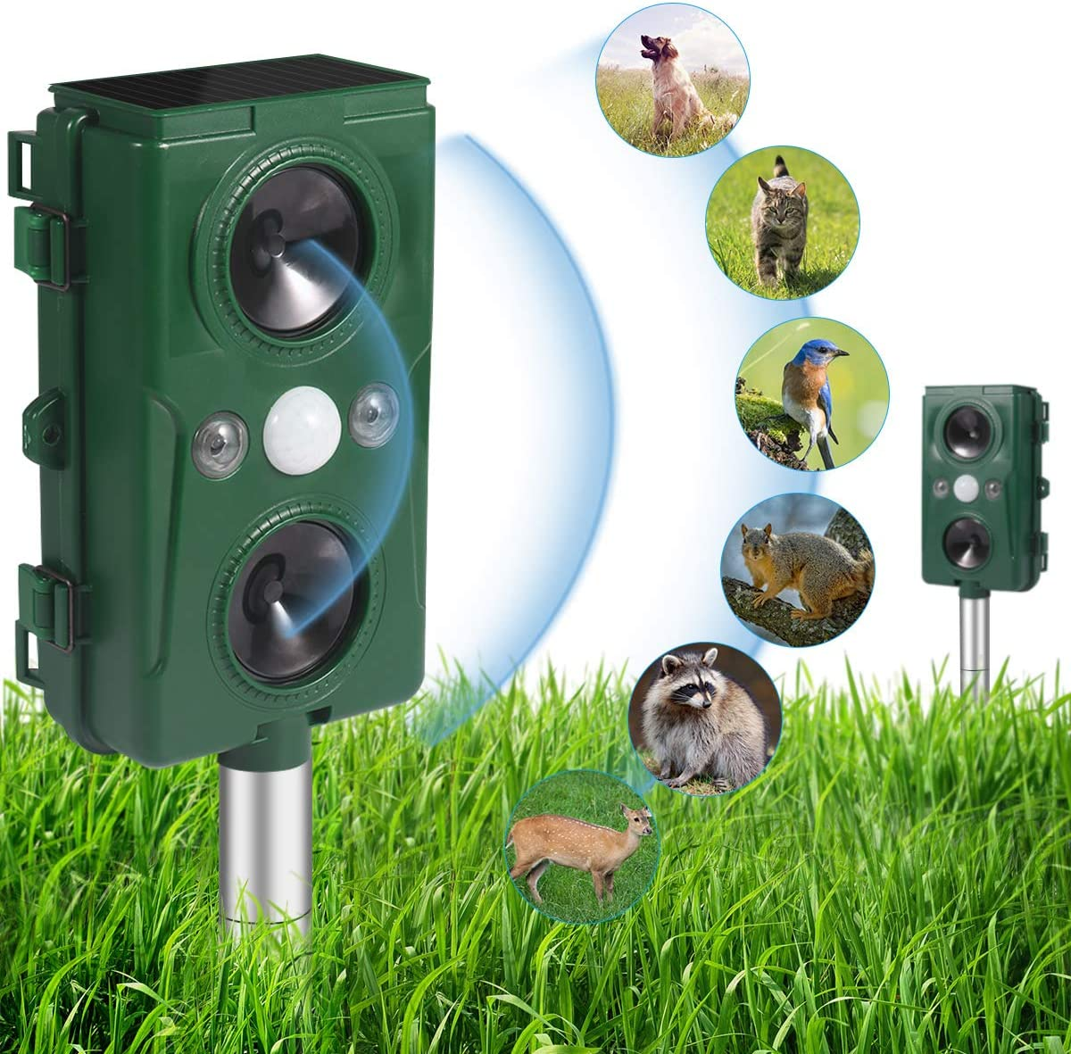 Ultrasonic Animal Repeller,Solar Powered and Waterproof PIR Sensor Repeller,Motion Activated with Flashing LED Light and Sound Effectively Scares Away Cats, Dogs, Foxes, Birds, Skunks, Rod