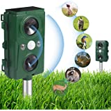 Ultrasonic Animal Repeller,Solar Powered and Waterproof PIR Sensor Repeller,Motion Activated with Flashing LED Light and…
