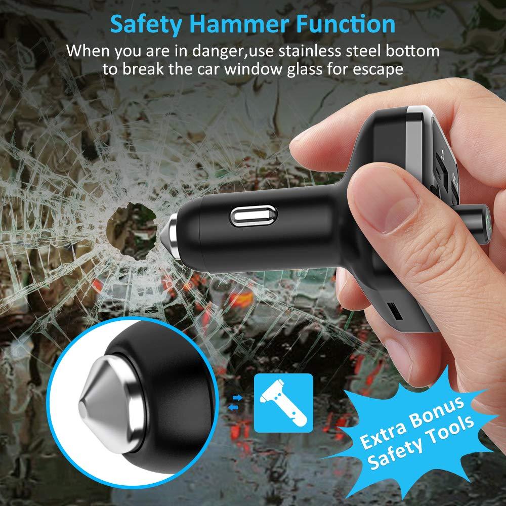 FM Transmitter Auto Bluetooth Bluetooth Transmitter Freisprecheinrichtung Bluetooth 5.0 Ladeger/ät Auto GPS QC3.0 Micro SD Karte Cocoda Fm Transmitter mit 7 Farben LED Unterst/ützt USB-Stick