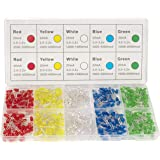 DiCUNO 450pcs(5 Colors x 90pcs) 5mm LED Light Emitting Diode Round Assorted Color White/Red/Yellow/Green/Blue Kit Box