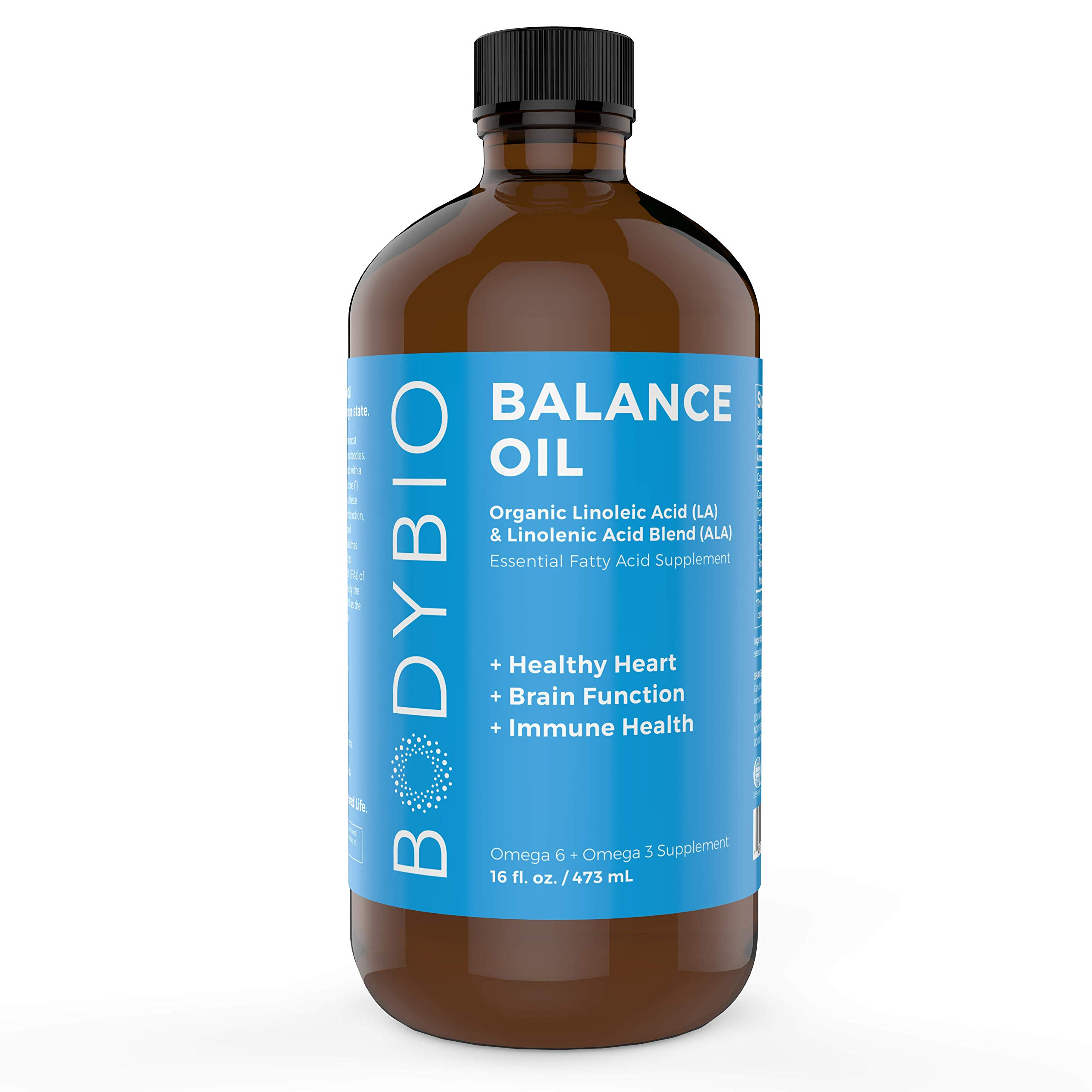 BodyBio Balance Oil - Essential Fatty Acids Omega 3 & 6 - Cold Pressed, Vegan, Organic Safflower and Flax Seed Oil Blend for Brain & Mood Support and Cellular Health, 16 oz