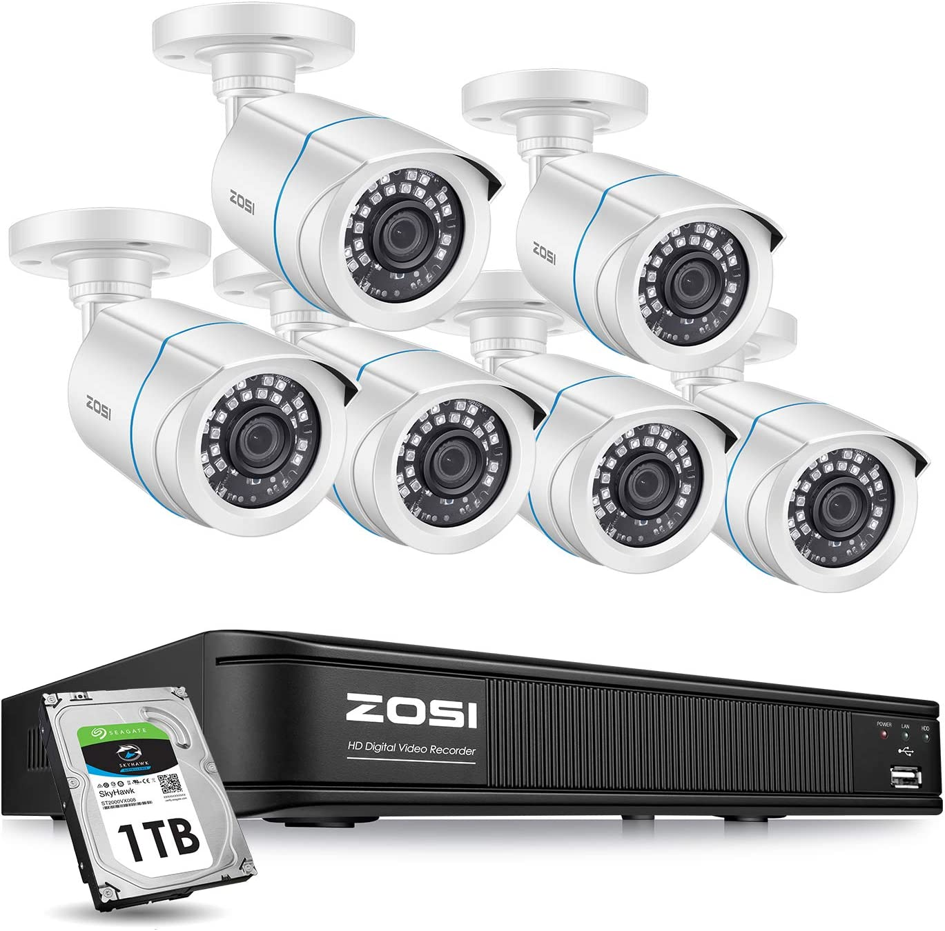 ZOSI 1080p Home Security Camera System Outdoor Indoor, H.265+ CCTV DVR Recorder 8 Channel with Hard Drive 1TB and 6 x 1080p Weatherproof Surveillance Bullet Camera, 80ft Night Vision, Remote Access
