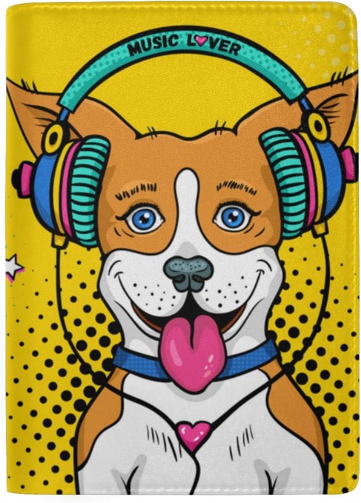 Happy Animal Dog Enjoy Music Carton Blocking Print Passport Holder Cover Case Travel Luggage Passport Wallet Card Holder Made With Leather For Men Women Kids Family