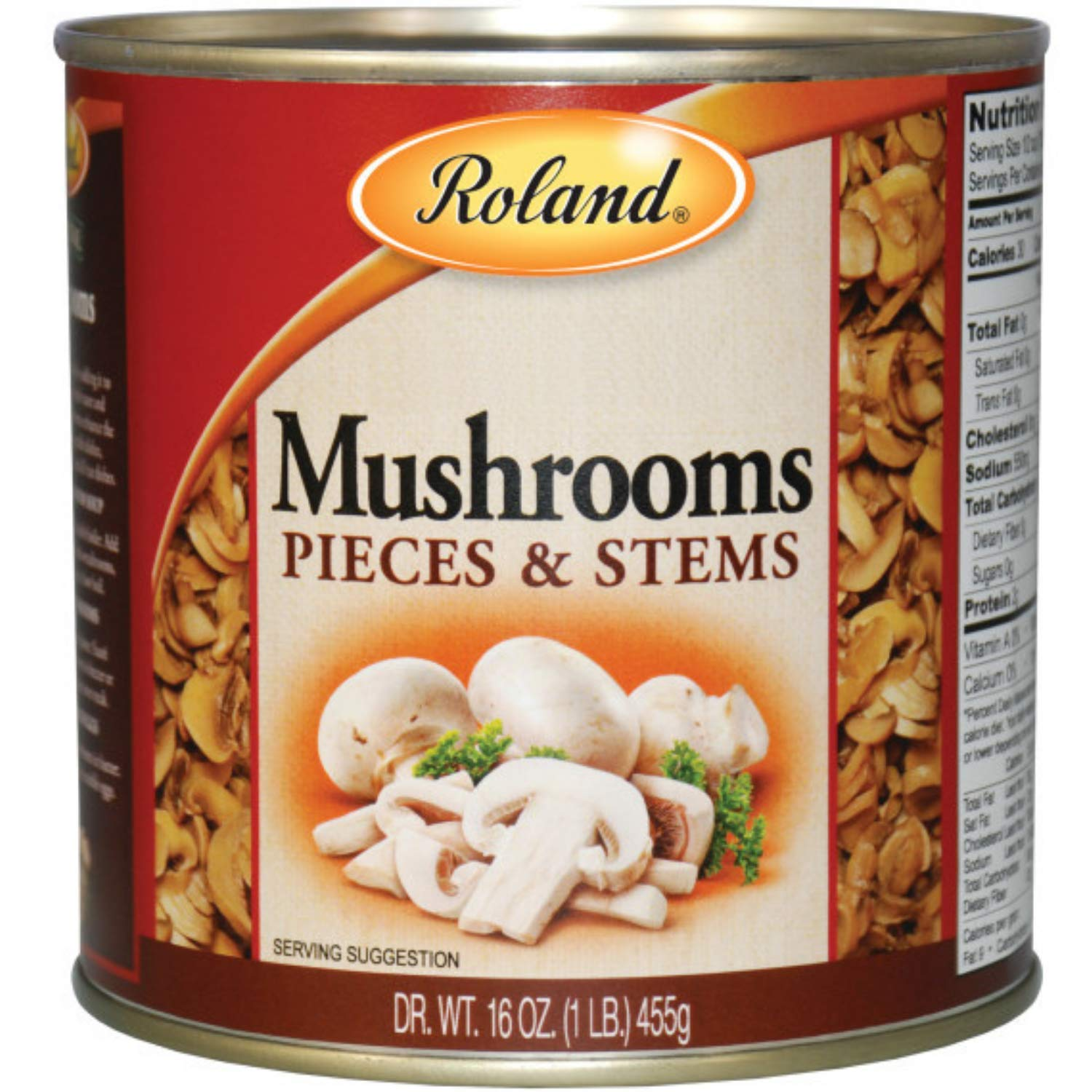 Roland Foods Canned Mushroom Pieces and Stems, Specialty Imported Food, 16-Ounce Can