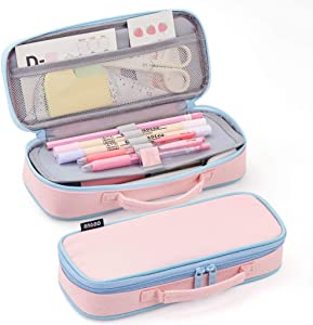 EASTHILL Pencil Case Medium Capacity Color Pencil Bag Cute Pencil Pouch with Zippers Stationery Organizer Storage Office School Gift for College Student Teen Girl Women Adult -Pink