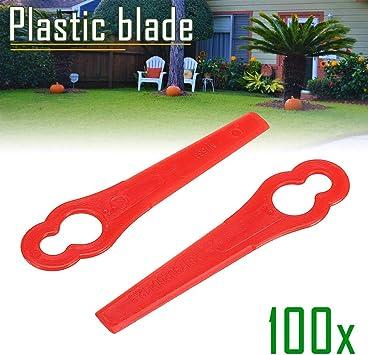 100stk Kunststoffmesser Ersatzmesser Messer passt für Akku Rasentrimmer rot