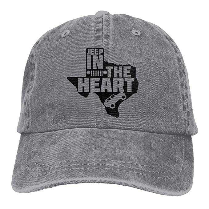 Jeep in The Heart of Texas Denim Hat Adjustable Men Funny Baseball Hats 565dfcd7674