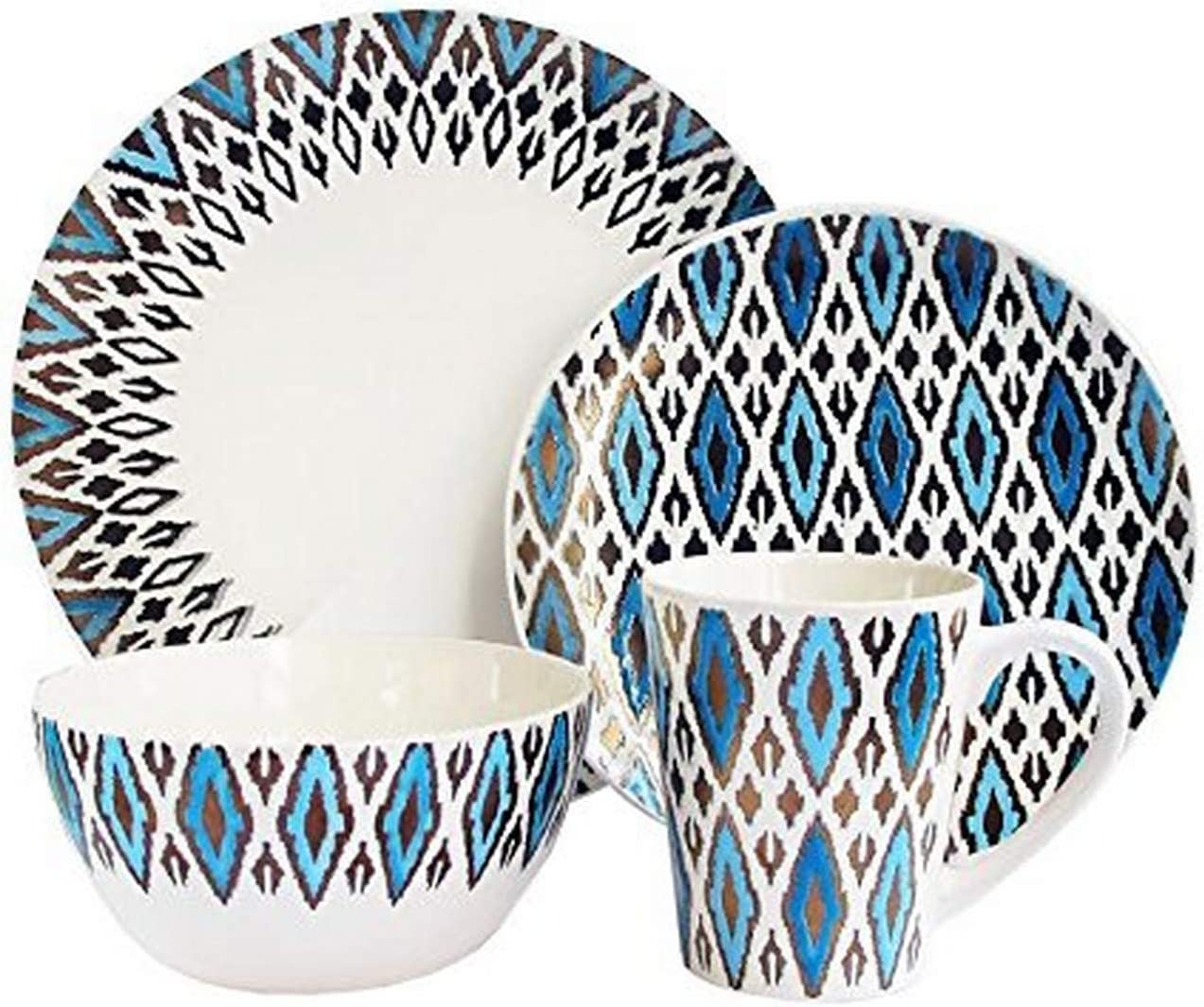 American Atelier 16 Piece Diamond Metallic Round Dinnerware Set, Blue/Gold