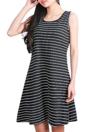 5ab70434df1d DSUK Knee Length Dresses for Women, Womens Striped Embroidery Flared Bottom  Midi Cotton Tee Sun