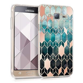 kwmobile Funda para Samsung Galaxy J3 (2016) DUOS - Carcasa de [TPU] para móvil y diseño de Rombos en [Azul/Oro Rosa]