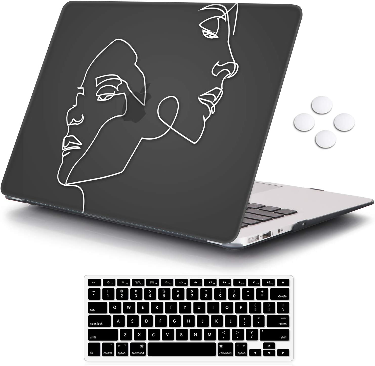 iCasso Air 13 inch Case (Release 2010-2017 Older Version), Hard Shell Plastic Protective Case & Keyboard Cover Only Compatible with MacBook Air 13 Inch Model A1369/A1466 - Face Sketch