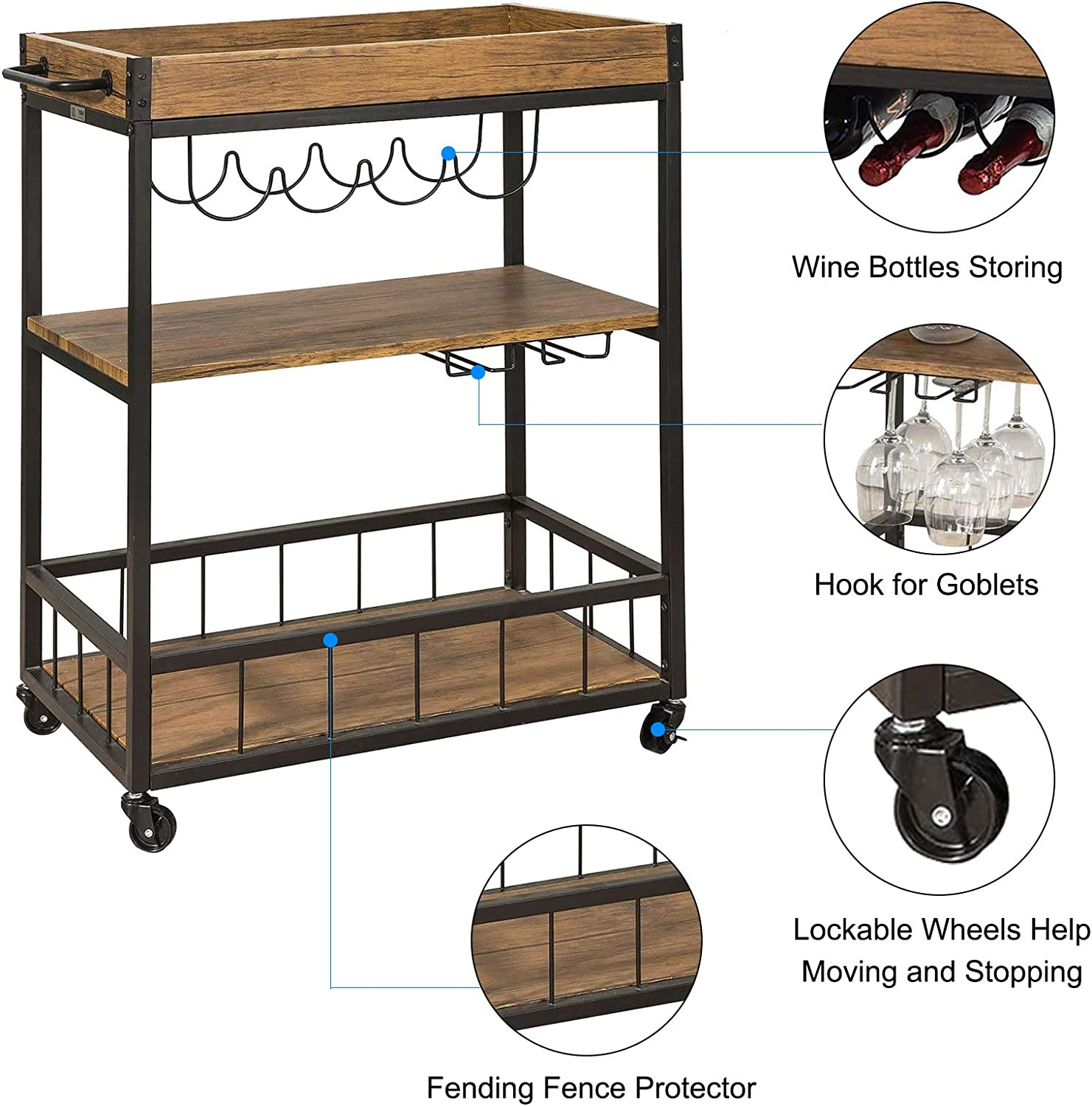 QCen Bar Carts for Home,Bar Serving Cart Home,Mobile Kitchen Serving cart with Storage Myra Rustic Design 35.2 H x 26.5 L x 16 W inches